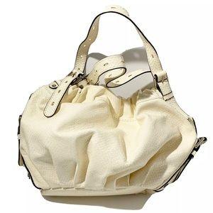Gianni Bini Retro White Shiny Snake Print Hobo Bag